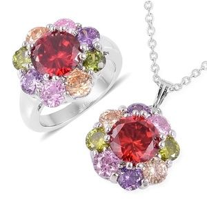 Jewelry - Sim Diamond Silver Flower Ring Size 10 and Pendant